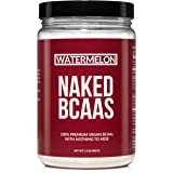 NAKED WATERMELON BCAAs 50 Servings - Vegan Branched Chain Amino Acids Powder 500 grams | 100% Pure 2:1:1 Formula - Instantized All Natural BCAA Watermelon Powder Supplement to Boost Muscle Growth