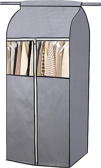 """MISSLO - Funda para armario de almacenamiento con ventana de PVC transparente, resistente al polvo, abrigos y chaquetas, tela, 54"""": Amazon.es: Hogar"""