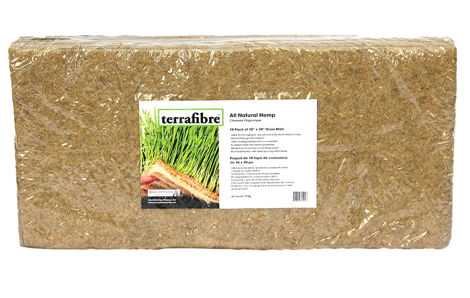 Terrafibre Hemp Grow Mat - Perfect for Microgreens, Wheatgrass, Sprouts - 5 x 5 or 10 x 20 (Fits 5 by 5 Growing Tray or 8 in a Standard 10 X 20 Germination Tray) Environmentally Friendly, Fully Biodegradable - Can be used in Humidity Domes and Hydroponic G