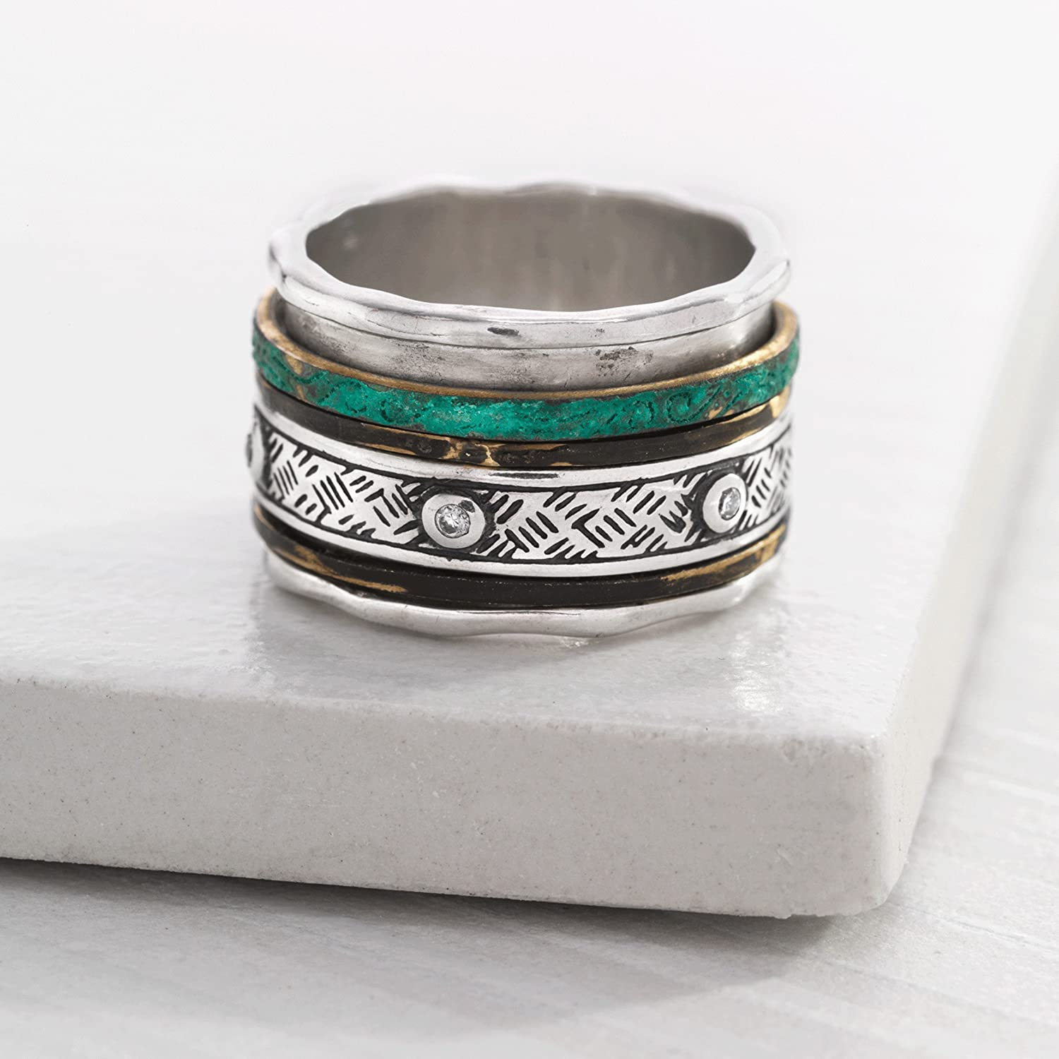 Silpada Isabella Spinner Sterling Silver and Patina Brass Ring