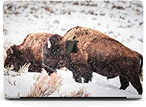 Wonder Wild Case Compatible with MacBook Air 13 inch Pro 15 2019 2018 Retina 12 11 Apple Hard Mac Protective Cover 2017 16 2020 Plastic Laptop Print Buffalo Snow Nature Animal White Winter Bison Zoo