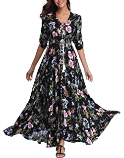 691e04fe8f4 VintageClothing Women s Half Sleeve Boho Maxi Dresses Floral Print Split  Beach Party Dress