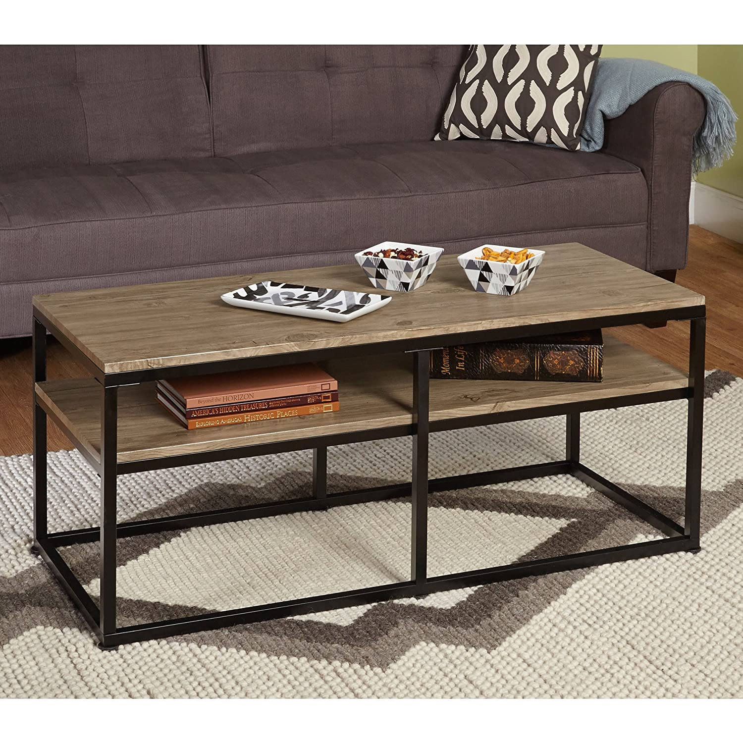 Amazon simple living modern rectangular accent coffee table amazon simple living modern rectangular accent coffee table with black metal frames and reclaimed wood look finish top for living room guest room geotapseo Image collections