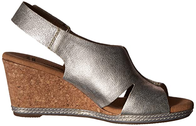 Details about Clarks Nubuck Wedge Sandals with Backstrap Helio Float Wide width