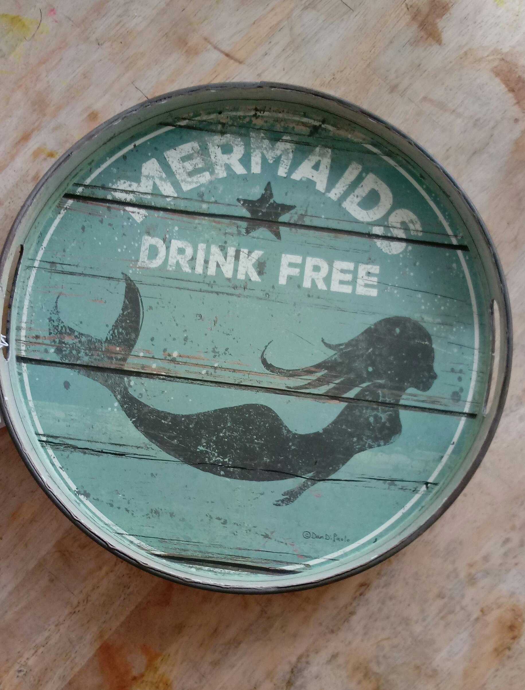 Primitives by Kathy Beach Mermaids Drink Free Decorative Tray, 12.5'' by Primitives by Kathy