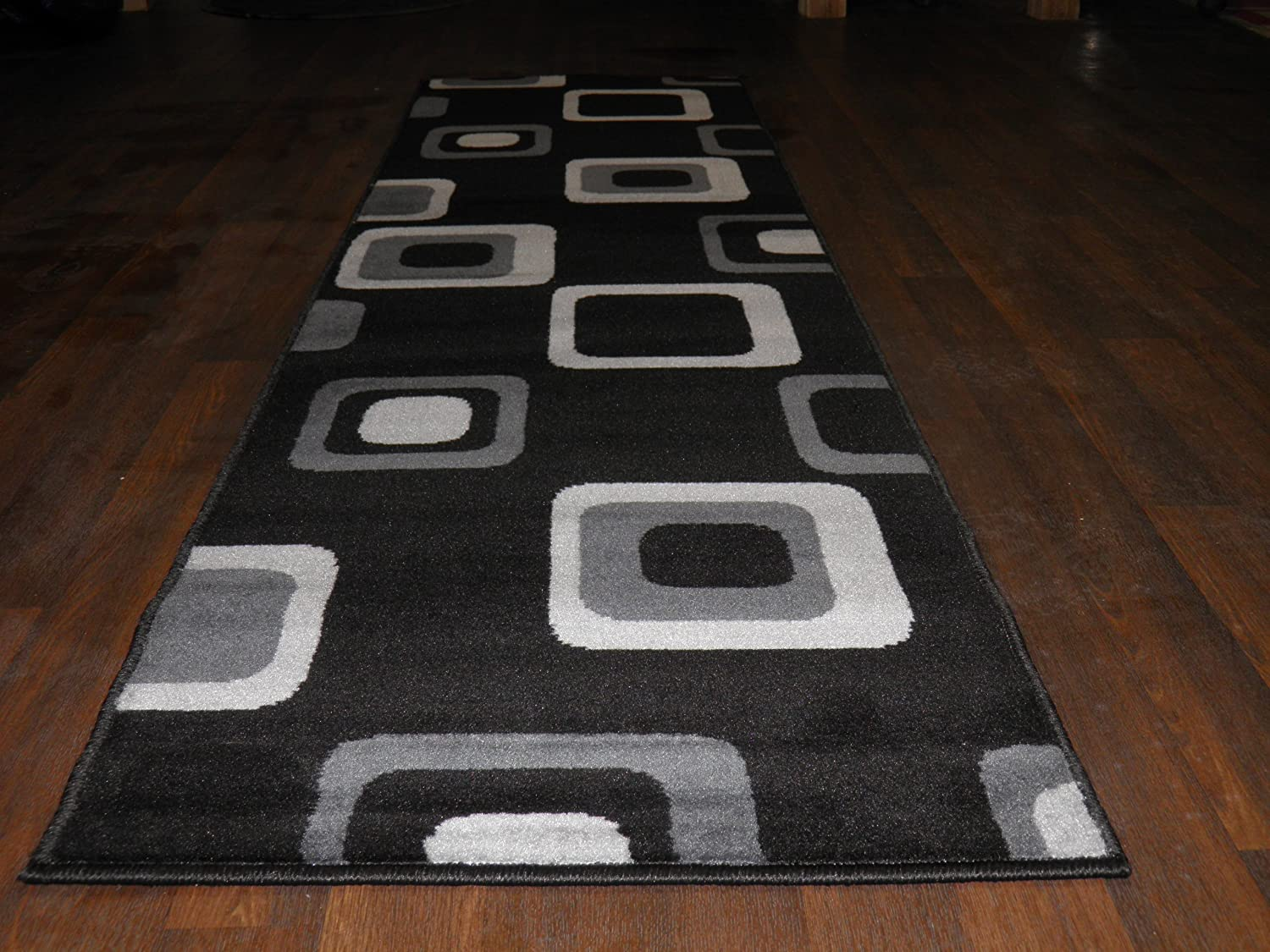 Modern Contemporary Design Approx 8x2 Runners 60cm x 220cm Black Available In Other Colours Top Quality Rugs