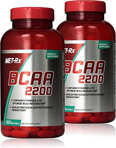 MET-Rx BCAA 2200 Amino Acid Supplement, Supports Muscle Recovery, 180 Softgels, 2 Pack 360 Total Count