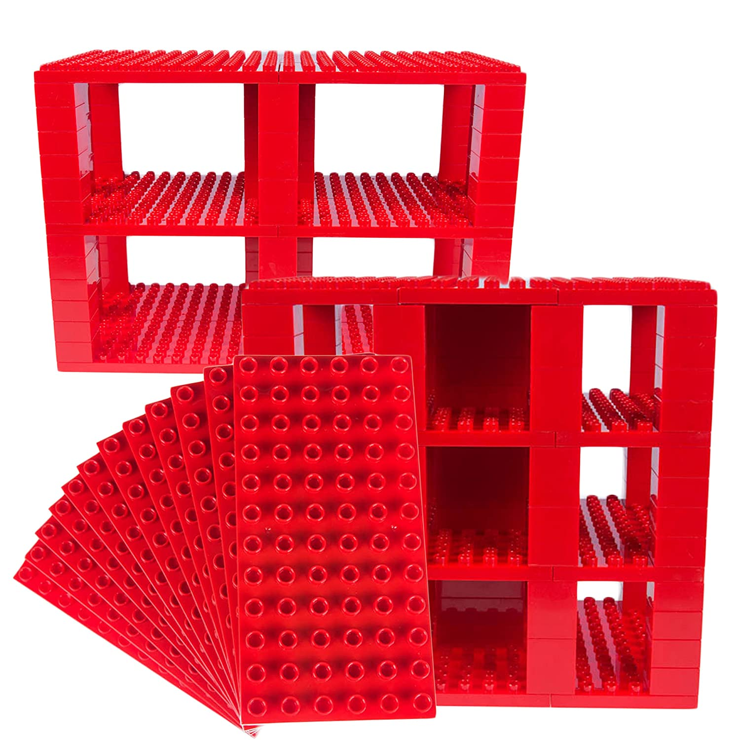 Classic Big Briks 96 Piece Set by Strictly Briks | 100% Compatible with All Major Brands | Tower Construction | Large Pegs for Toddlers | Ages 3+ | Building Bricks & Baseplates | Red Review