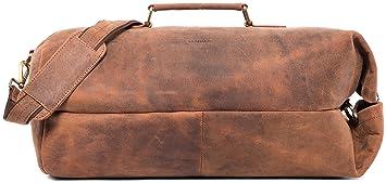 LEABAGS Santa Cruz sac de voyage rétro-vintage en véritable cuir de buffle - Marron yWNXX2Z6