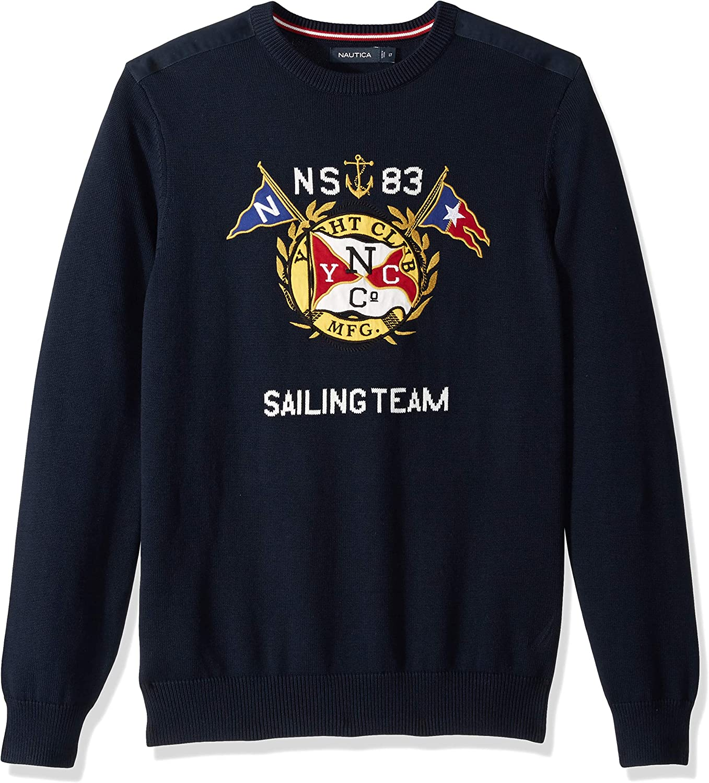 Nautica Mens Big and Tall Graphic Intarsia Crewneck Sweater