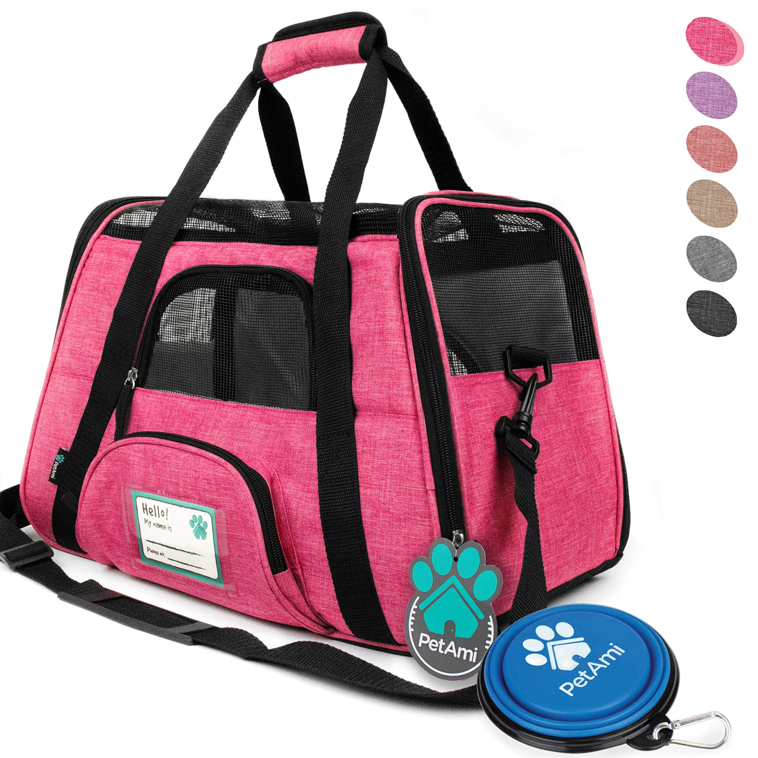 PetAmi Premium Airline Approved Soft-Sided Pet Travel Carrier | Ventilated, Comfortable Design with Safety Features | Ideal for Small to Medium Sized Cats, Dogs, and Pets (Small, Heather Pink) by PetAmi