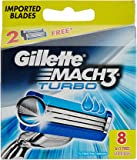Gillette Mach 3 Turbo Manual Shaving Razor Blades - 6 Pieces with Free 2 Cartridge