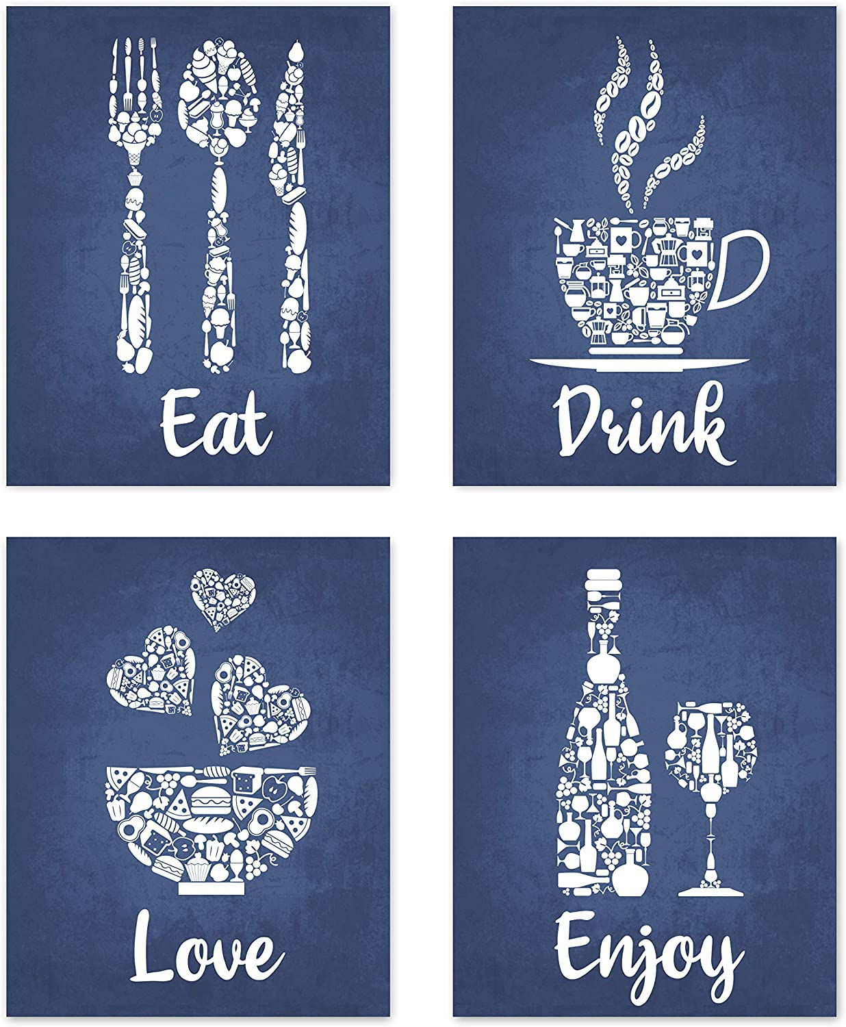 Navy Blue White Mosaic Vintage Inspirational Kitchen Restaurant Cafe Bar Wall Art Decorations Eat Drink Love Wine Coffee Hearts Prints Posters Signs Sets Rustic Farmhouse Country Home Dining Room House Decor Funny Sayings Quotes 8x10 UNFRAMED