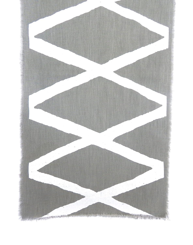 White Hand Screen Print CUT ONE RLGDIAGYWH Gitika Goyal Home Windows Collection Cotton Khadi Grey Runners 105x12 Diamond Design