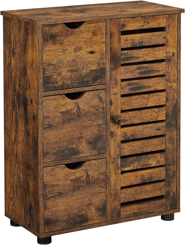 VASAGLE Bathroom Cabinet, Floor Cabinet Storage Cabinet with 3 Drawers, Single Door with 2 Adjustable Shelves, for Living Room, Kitchen, Entryway, Rustic Brown UBBK143X01