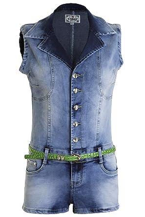 885a6a23ef2b Women s Denim Playsuit Tight Fit Faded Summer Denim Hot Shorts Pants ...
