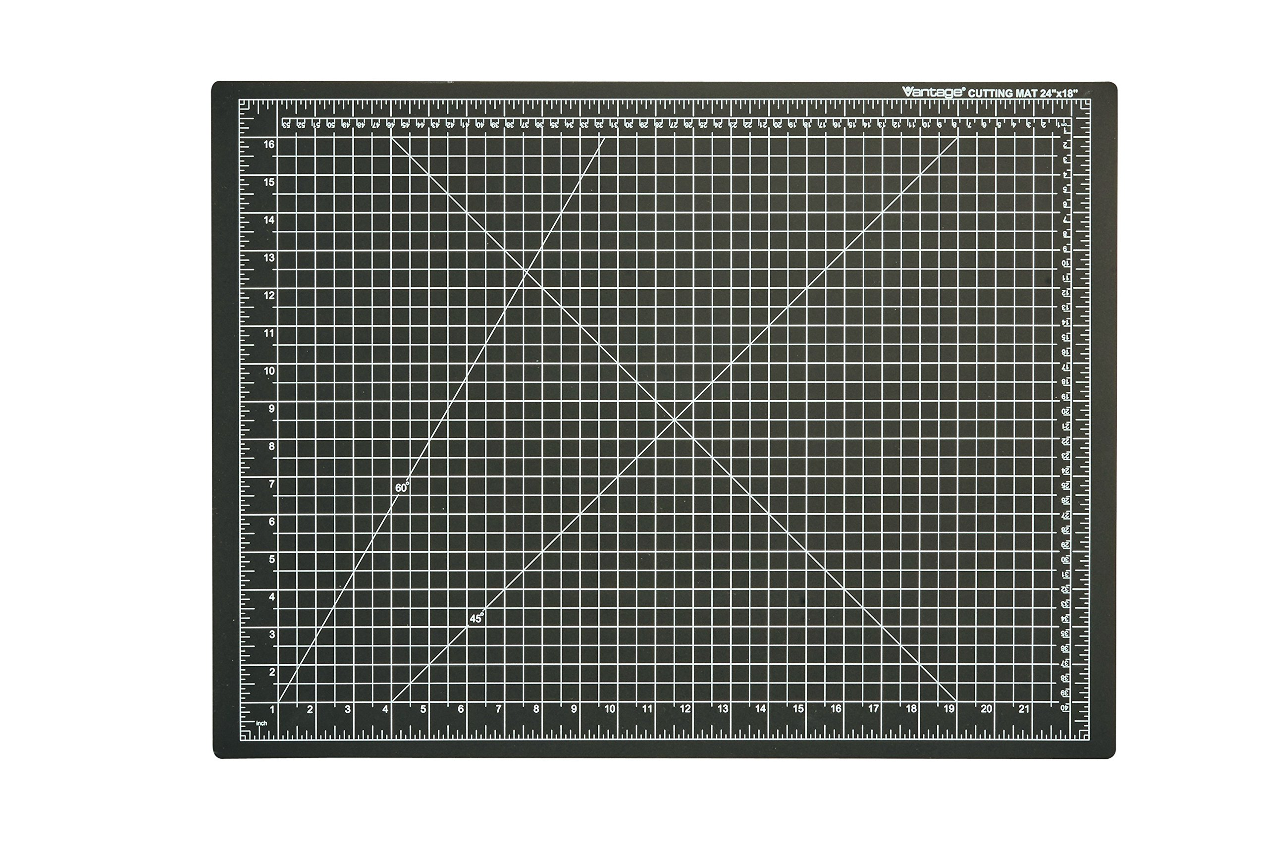 Dahle Vantage 10672 Self-Healing Cutting Mat, 18''x24'', 1/2'' Grid, 5 Layers for Max Healing, Perfect for Cropping, Sewing, & Crafts, Black