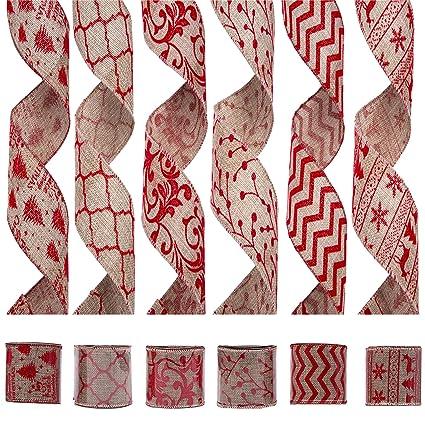 056c9c6596 Amazon.com  iPEGTOP Wired Christmas Burlap Ribbon