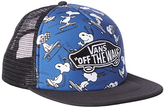 13174327404019 Vans Peanuts True Navy Classic Patch Trucker Plus Snapback Cap (True Navy)  at Amazon Men s Clothing store