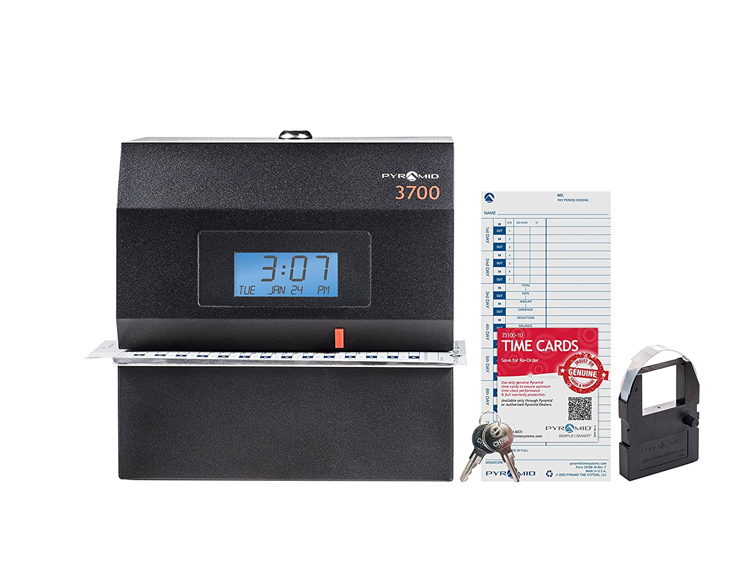 Pyramid 3700 Heavy Duty Steel Time Clock and Document Stamp - Made in the USA Pyramid Time Systems