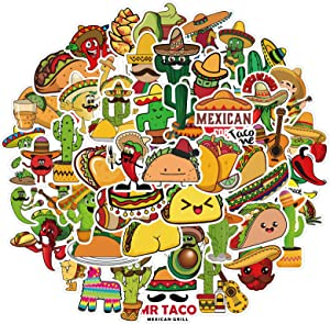 Mexican Food Stickers (50 Pcs), Funny Vinyl Decal, Waterproof Sticker Packs Perfect for Water Bottle, Laptop, Phone, Skateboard, Snowboard, Bumper