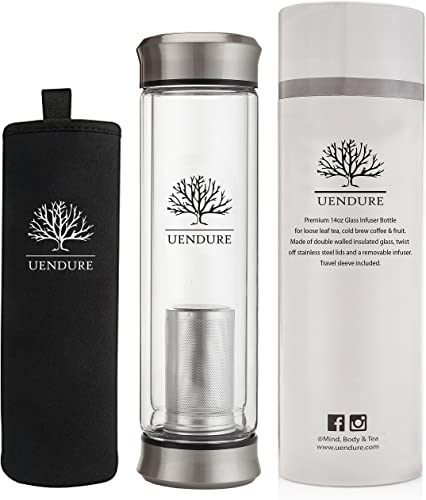 UEndure Glass Tea Infuser Bottle + Strainer