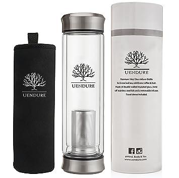 El Original botella con infusor de té por uendure – nuevo y mejorado diseño V2 –