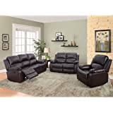 Beverly Furniture 3 Piece Bonded Leather Sofa & Loveseat & Chair with 5 Recliners (Set of 1), Brown