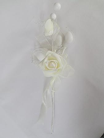 Gastgeschenk Bomboniere Blumengesteck Creme Mit