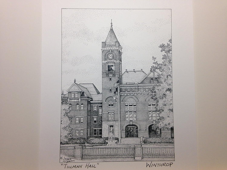 Winthrop University Tillman Hall 8x10 pen and ink print