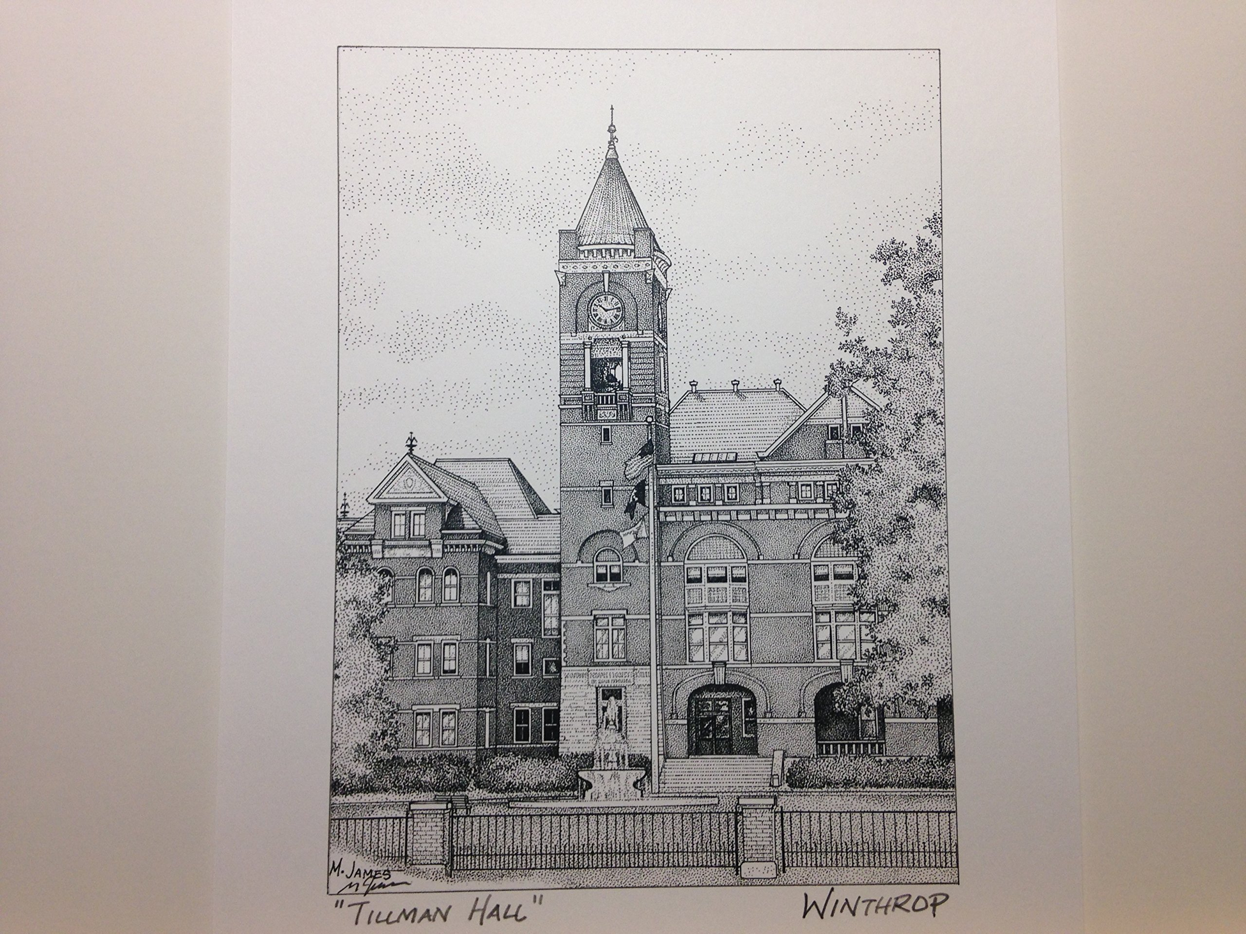Winthrop University Tillman Hall 8''x10'' pen and ink print