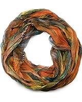 styleBREAKER Feder Muster Batik Style Loop Schlauchschal, Crash and Crinkle, seidig leicht 01016064