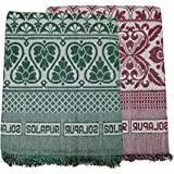 Cotonine The One - Solapuri Chadar/Single Size Cotton Blanket Set of 2 nos (Green & Red)