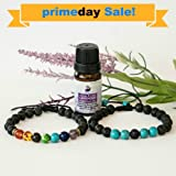 Set of 2 Adjustable Aromatherapy Bracelet Diffusers (Lava Stones with Chakra Bracelet & Turquoise Bracelet) with10ml Lavender Essential Oil
