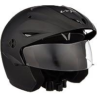 Vega Cruiser CR-W/P-DK-M Open Face Helmet with Peak (Dull Black, M)