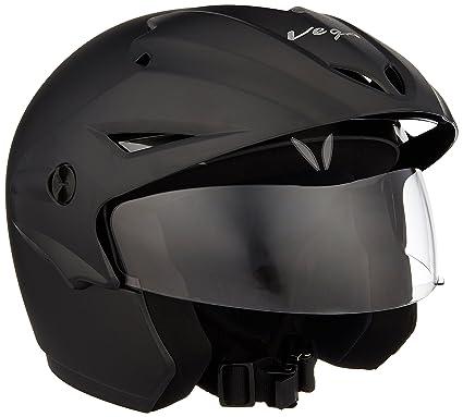vega cruiser cr w p dk m open face helmet with peak dull black m