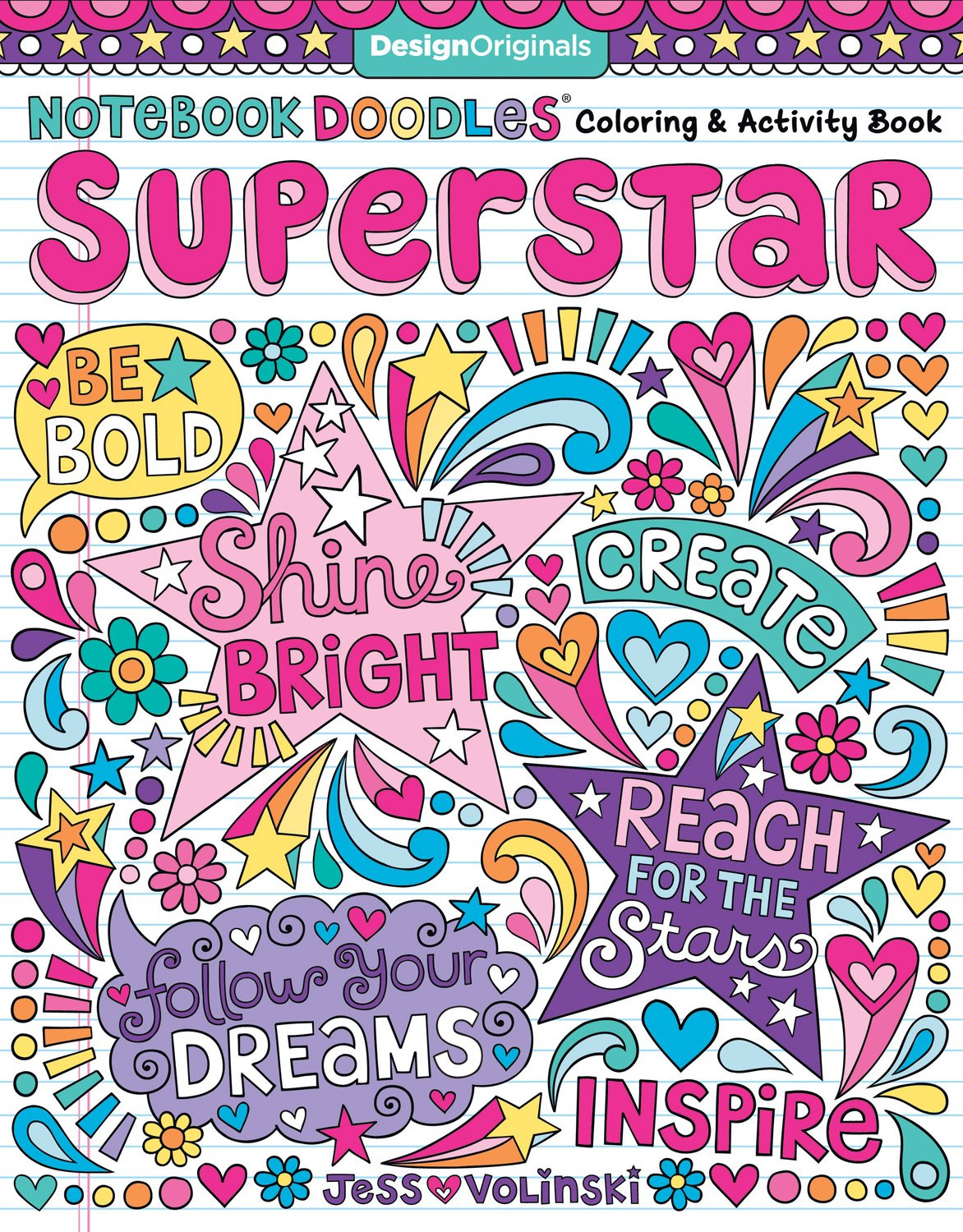 Read Online Notebook Doodles Superstar: Coloring & Activity Book (Design Originals) 32 Inspiring Designs; Beginner-Friendly Relaxing & Empowering Art Activities for Tweens, on Extra-Thick Perforated Pages pdf epub