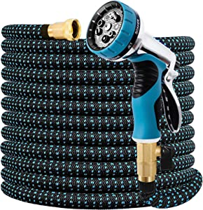Expandable Garden Hose 100FT Water Hose with 9 Function Nozzle and Durable 3-Layers Latex, Extra Strength 3750D Flexible Hose with 3/4
