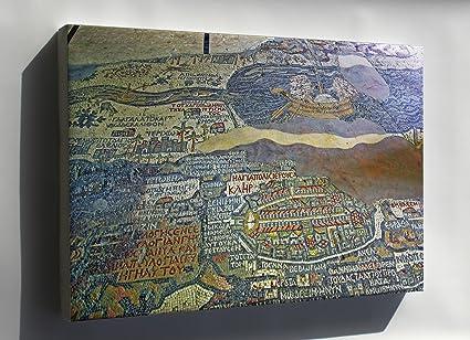 Amazon.com : Canvas 24x36; Madaba Map Madaba Mosaic Map ... on vienna genesis, macedonian renaissance, late antique and medieval mosaics in italy, joshua roll,