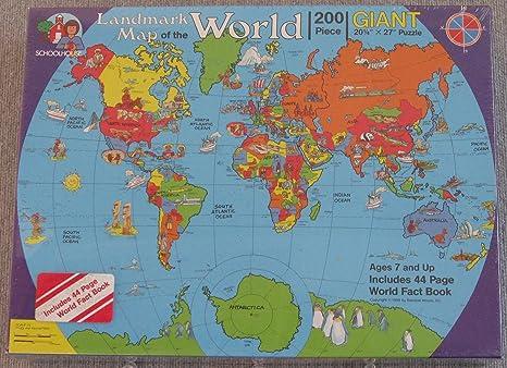 Amazon.com: Landmark Map of the World 200 Piece Giant Jigsaw ...