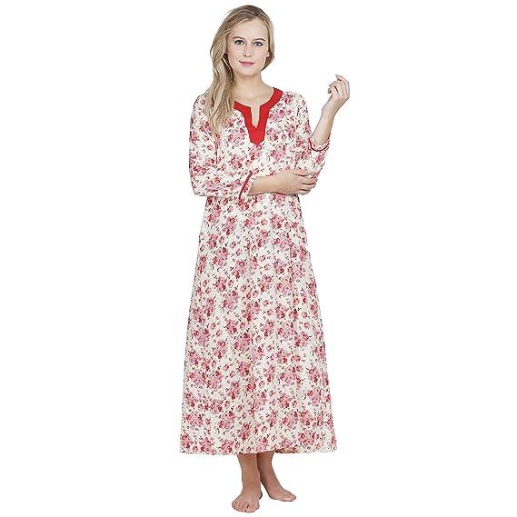 Patrorna Printed Empire Nighty Night Dress Nightwear Night Gown for ...