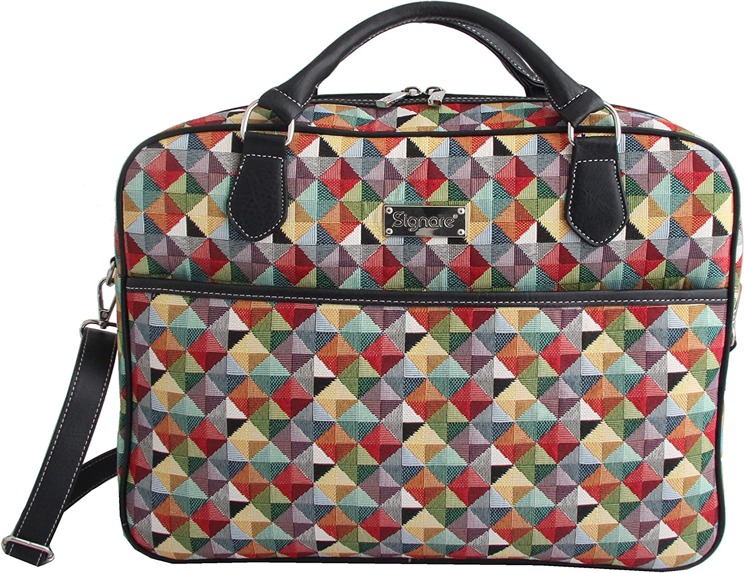 CSignare Tapestry Laptop bag 15.6 computer messenger bag briefcase for Women with Colourful Geometric Design (CPU-MTRI)