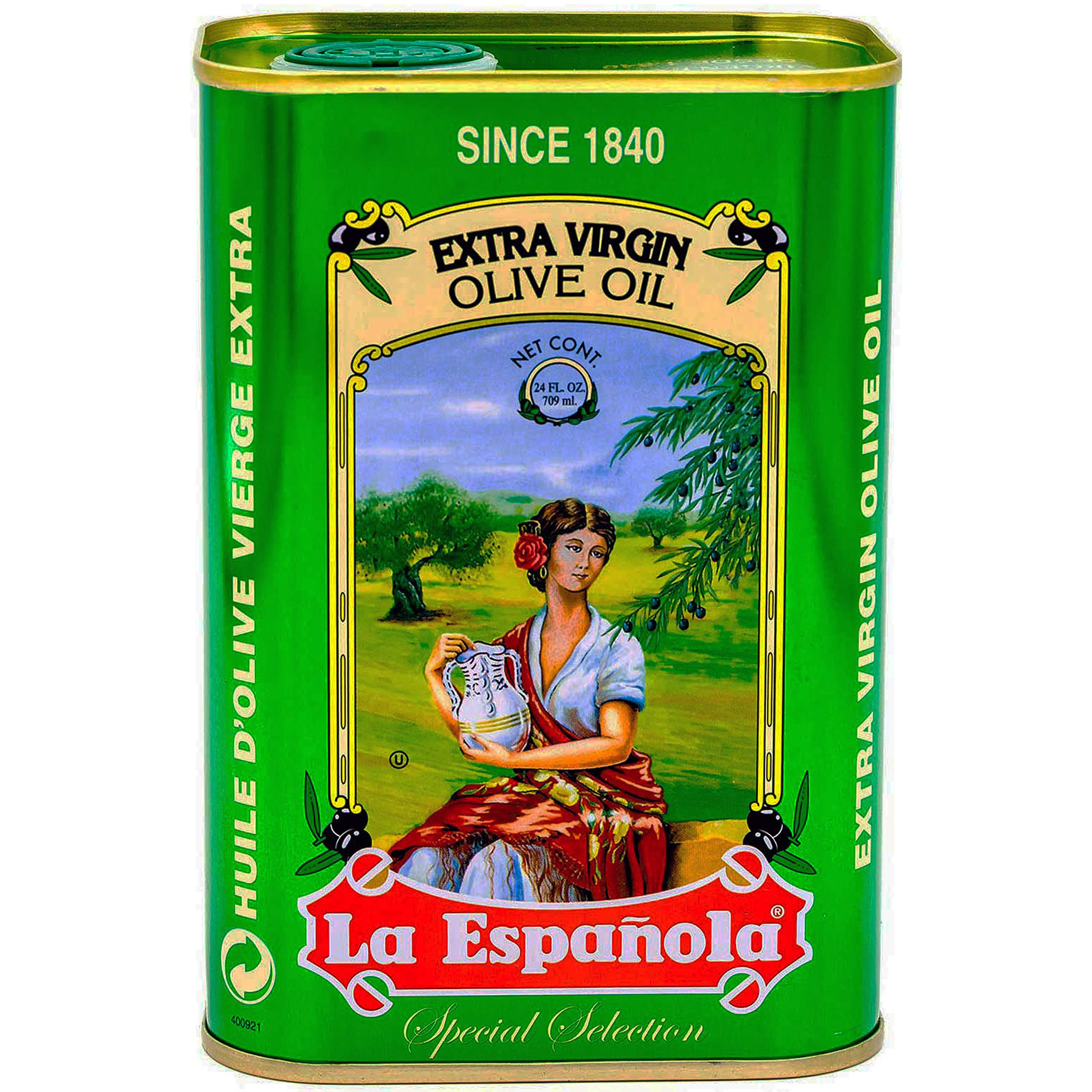 La Española Extra Virgin Olive Oil, 24 fl oz, 100% Extra Virgin Olive Oil, First Cold Pressed from Extra Virgin Olives, Best Olive Oil from Spain in Beautiful Tin by La Española