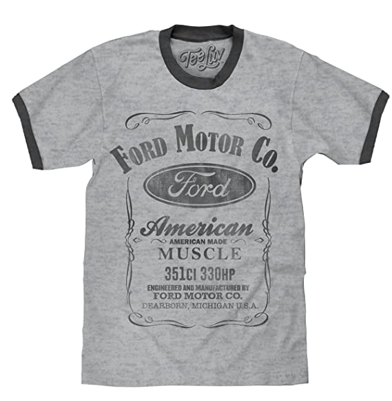 d96049e4 Amazon.com: Tee Luv Ford Ringer T-Shirt - American Made Muscle Ford ...