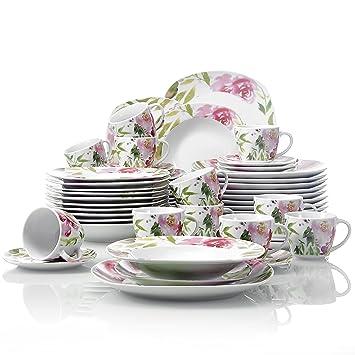 ecc0aff797ee91 Veweet ASHLEY 60pcs Service de Table Porcelaine 12pcs Assiette Plate,  Assiette à Dessert, Assiette