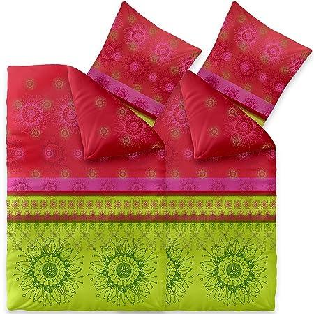 CelinaTex Fashion Bettwäsche 4tlg 135 x 200 cm Baumwolle Bettbezug Set 80 x 80 cm Kissenbezug 0003720 Lindsay grün rot pink
