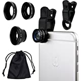 Universal 3 in1 Camera Lens Kit for Smart phones includes One Fish Eye Lens / One 2 in 1 Macro Lens and Wide Angle Lens / One Universal Clip / One Microfiber Carrying Bag / with Camkix? Retail Packaging - Compatible with iPhone, Samsung Galaxy, HTC, Motorola, Tablets, iPad, and Laptops (Black)