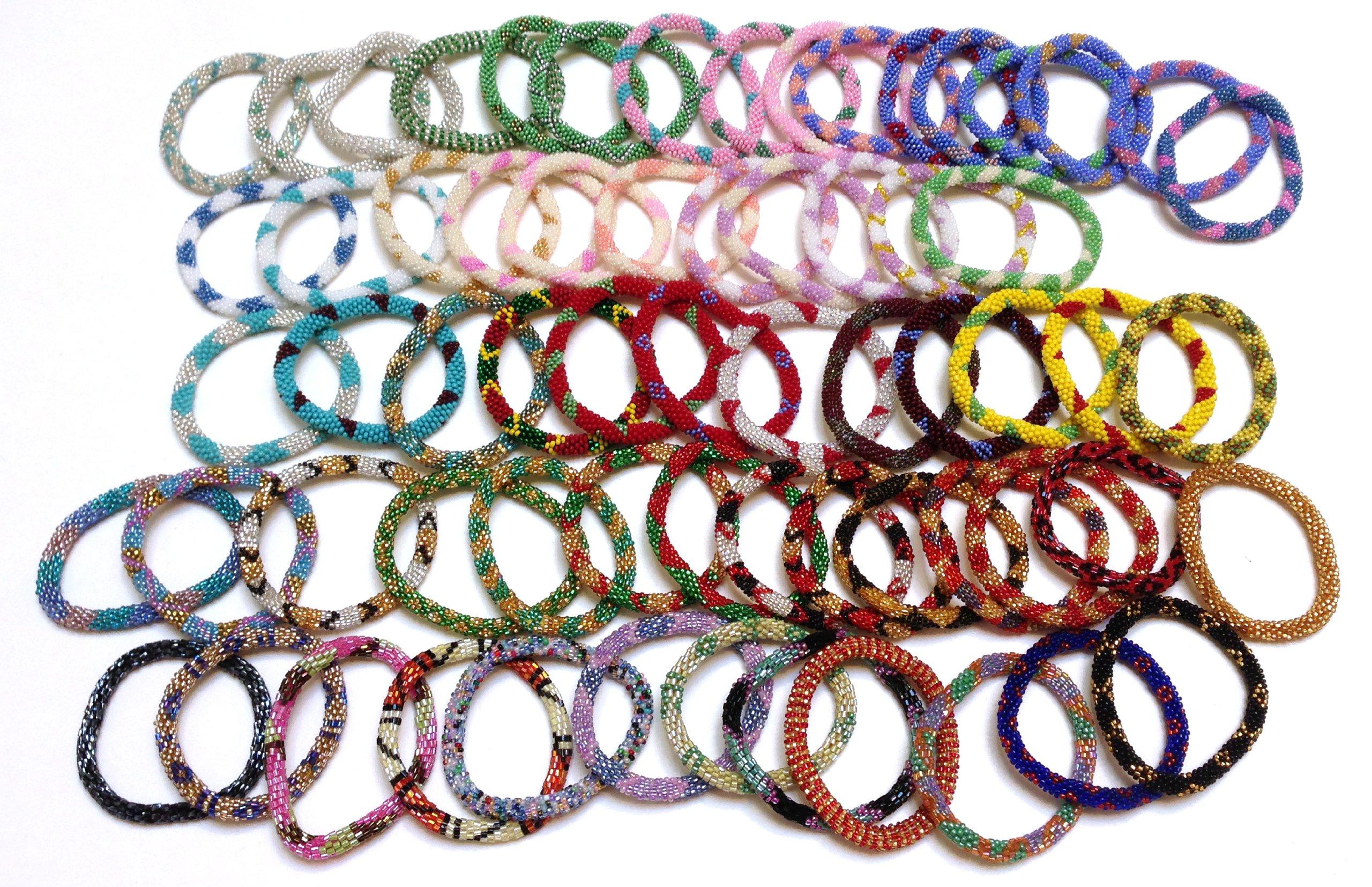 Handmade Nepal glass beaded bracelets Roll On Bracelet - multi color (set of 5)