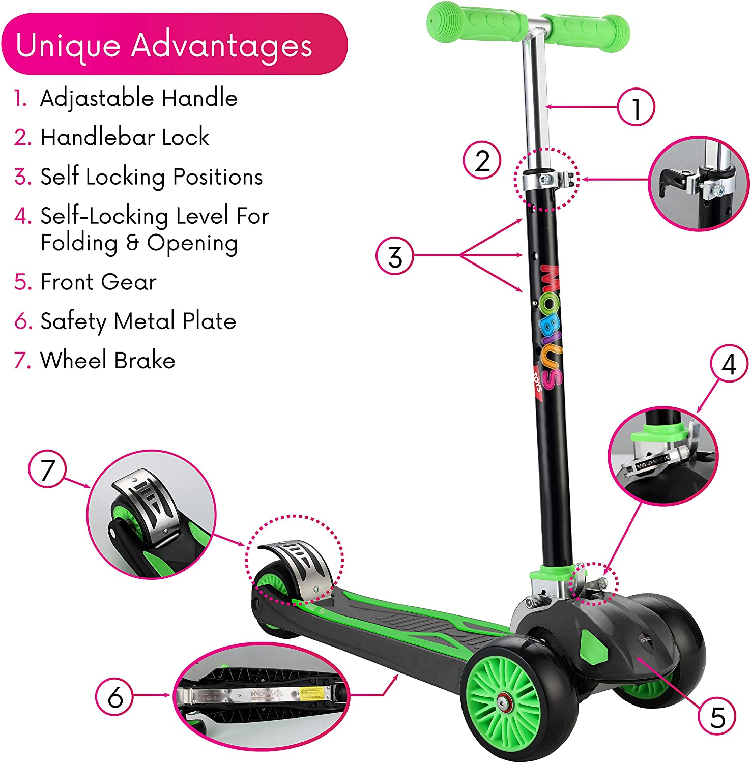 Amazon.com: Patinete para niños, Maxi Plegable Kick Scooter ...