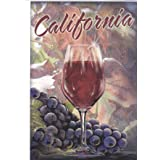 1060544 WELCOME TO CALIFORNIA - Single Red Wine Chalice - California is well known for its beautiful wine country Post Card POSTCARD from Hibiscus Express